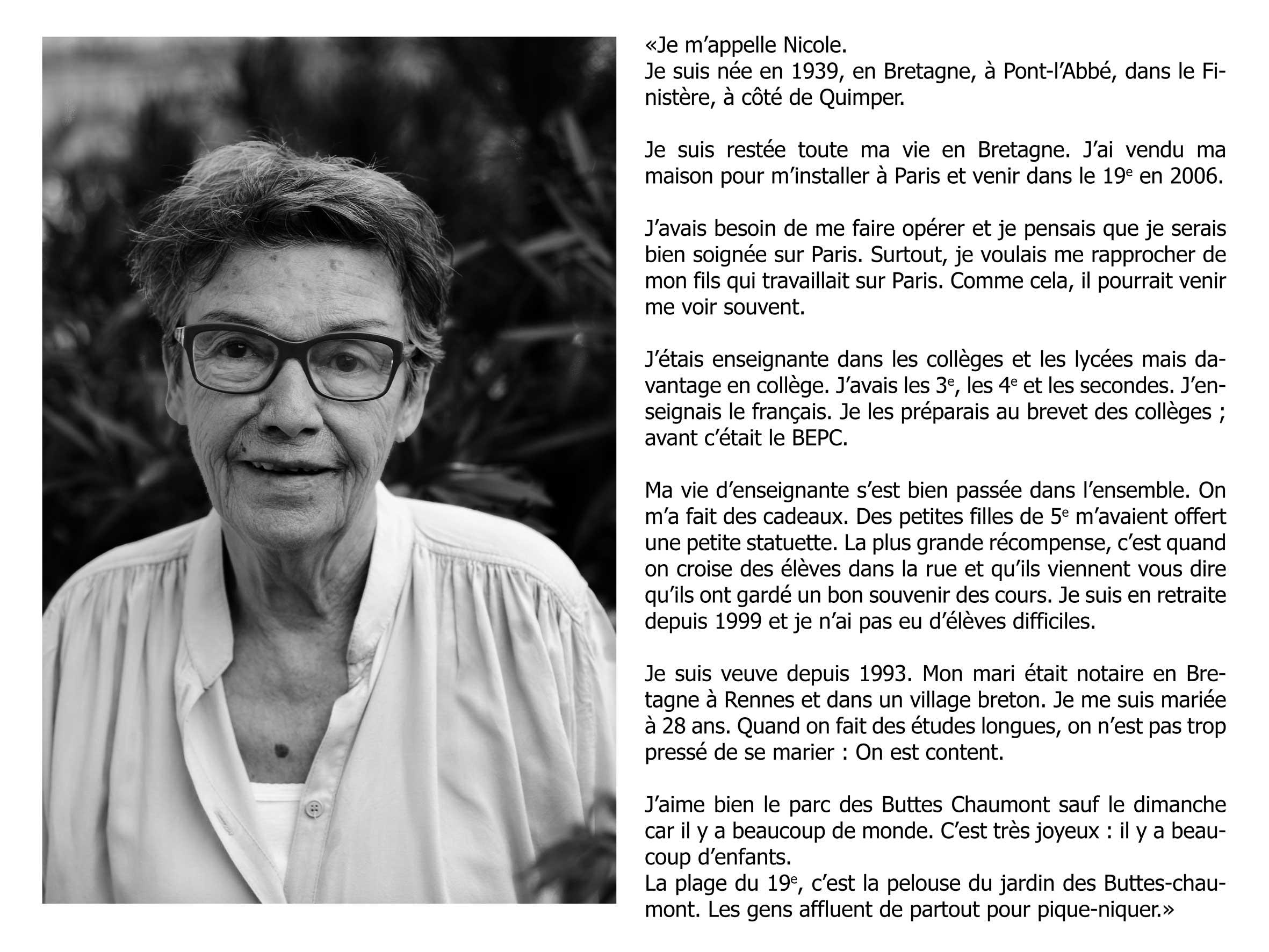 """Nicole - """"Ces voisins oubliés"""" - copyright Clément Szmulewicz"""